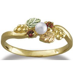 Black Hills Gold Ruby And Pearl Ladies Ring
