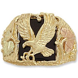 Black Hills Gold Onyx Open Wings Eagle Men's Ring