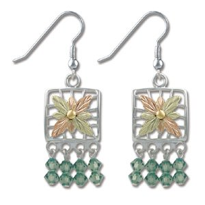 Black Hills Gold With Green Swarovski Crystal Earrings