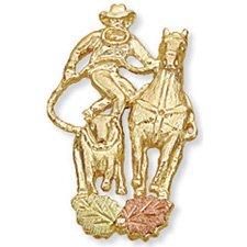Black Hills Gold Calf Roper & Horse Tie Tack
