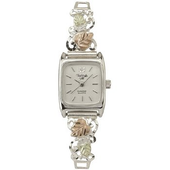 Black Hills Gold Watch Ladies Diamond & Sterling Silver
