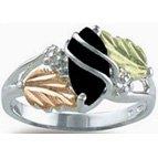 Black Hills Gold Black Onyx Silver Ladies Ring