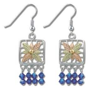 Black Hills Gold With Blue Swarovski Crystal Earrings