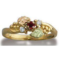 Black Hills Gold Diamond And Ruby Ladies Ring