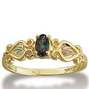 Black Hills Gold Oval Mystic Fire Topaz Ladies Ring