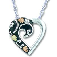 Black Hills Gold Antiqued Silver Heart Necklace