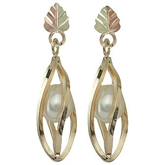 Black Hills Gold Earrings Pearl Dangle Post
