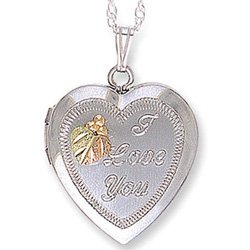 "Black Hills Gold Silver Heart "" I Love You "" Locket"