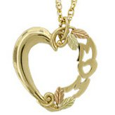 Black Hills Gold Necklace Fancy MOM Heart