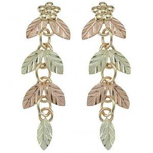 Black Hills Gold Earrings 7 Leaves Dangle Post