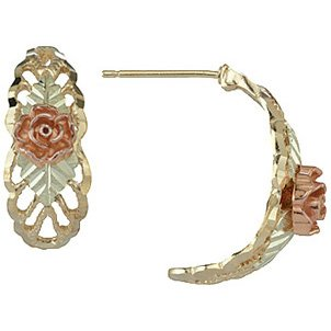 Black Hills Gold Earrings Rose 1/2 Hoop Post