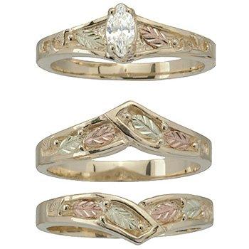 Black Hills Gold Ring Ladies Wedding Set Bridal Diamond .20 Solitare