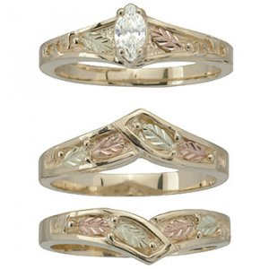 black hills gold ring ladies wedding set bridal diamond 20 solitare