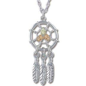 Black Hills Gold & Sterling Dreamcatcher Necklace
