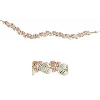 "Black Hills Gold Bracelet Heart Shape Leaves 7 1/2"""