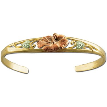 Black Hills Gold Hibiscus - Solid Gold - Cuff Bracelet