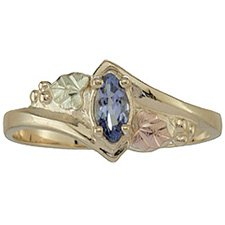 Black Hills Gold Ring Ladies Tanzanite Faceted Marquise