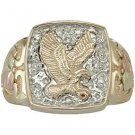 Black Hills Gold Ring Mens Diamond Eagle .10 TDW