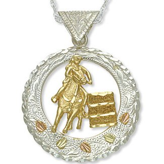 Black Hills Gold On Silver 10K Barrel Racer Necklace