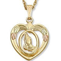 Black Hills Gold 10K Heart Praying Hands Necklace