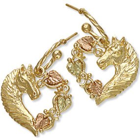 Black Hills Gold Horse & Leaves Heart Post Earrings