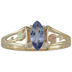 Black Hills Gold Ring Ladies Tanzanite Faceted Marquise Open Style