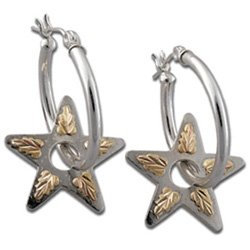 "Black Hills Gold 1"" Silver Star Hoop 2-In-1 Earrings"