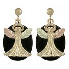 Black Hills Gold Earrings Angels Black Onyx Post