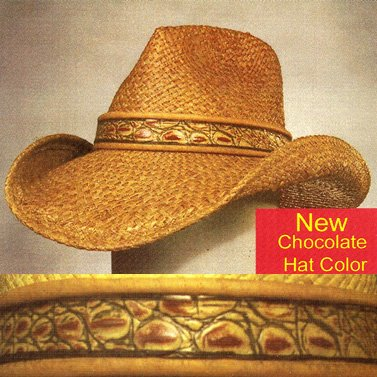 Shady Brady Cowboy Hat Raffia Straw Leather Simulated Crocodile Band Size Small