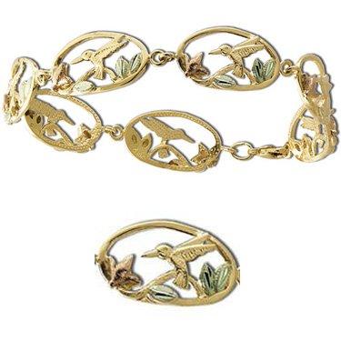 Black Hills Gold Hummingbirds & Flowers Bracelet