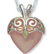 Black Hills Gold Rose Quartz Silver Heart Necklace