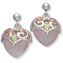 Black Hills Gold Rose Quartz Silver Heart Earrings