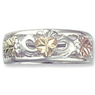 Black Hills Gold Silver Irish Claddagh Ladies Band Ring