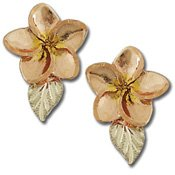 Black Hills Gold Plumeria & Leaves Post Earrings