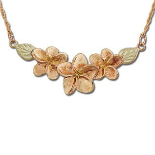 Black Hills Gold 3 Plumeria Pendant / Necklace