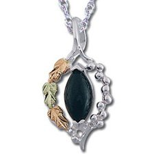 Black Hills Gold Black Onyx Sterling Silver Necklace