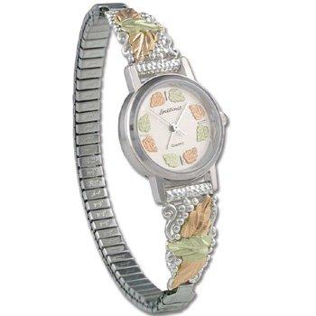 Black Hills Gold 14 Leaf Sterling Silver Ladies Wrist Watch