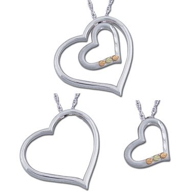 Black Hills Gold 3 In 1 Silver Heart Necklace