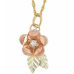Black Hills Gold Necklace Rose & Diamond