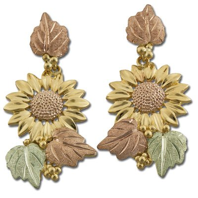 Black Hills Gold Sunflower Post Dangle Earrings