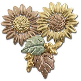 Black Hills Gold Sunflowers Brooch