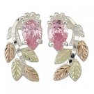 Black Hills Gold Earrings Pink Ice Sterling Silver Post