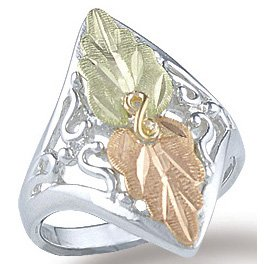 Black Hills Gold On Sterling Silver Ladies Ring
