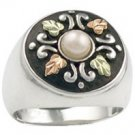 Black Hills Gold On Sterling Silver Pearl Antiqued Button Ladies Ring