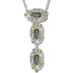Black Hills Gold 3 Mystic Fire Topaz Silver Necklace