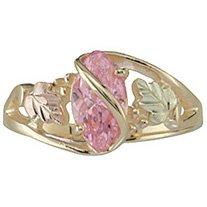 Black Hills Gold Ring Ladies Pink Ice Pink Cubic Zirconia