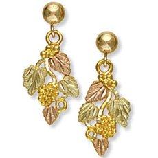 Black Hills Gold 4 Leaves & Grapes Post Earrings