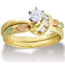Black Hills Gold Diamond Wedding Set .34 14K