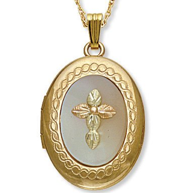 Black Hills Gold Cross Mother Of Pearl Locket Necklace