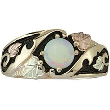 Black Hills Gold Ring Ladies Opal Cabochon Antiqued